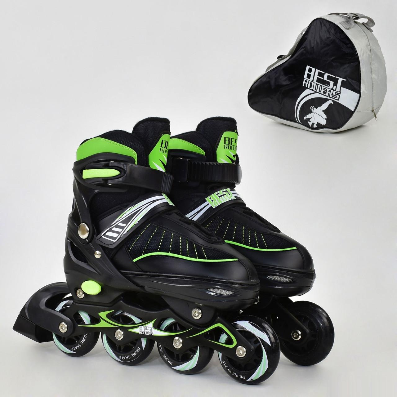 "Ролики Best Rollers зеленые арт. 5700 /размер ""L"" 39-42/ колёса PU"