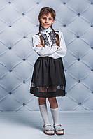Чорна  спідниця на дівчинку з гіпюром .Р-ри 122-146, фото 1