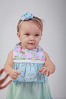 """Детский нагрудник для кормления девочки """"Платье"""", весенние мотивы, фото 1"""