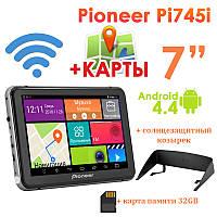 "GPS навигатор Pioneer Pi745i 7"" 8 Ядер  Android 4.4 + Козырек + Карта памяти 32GB"