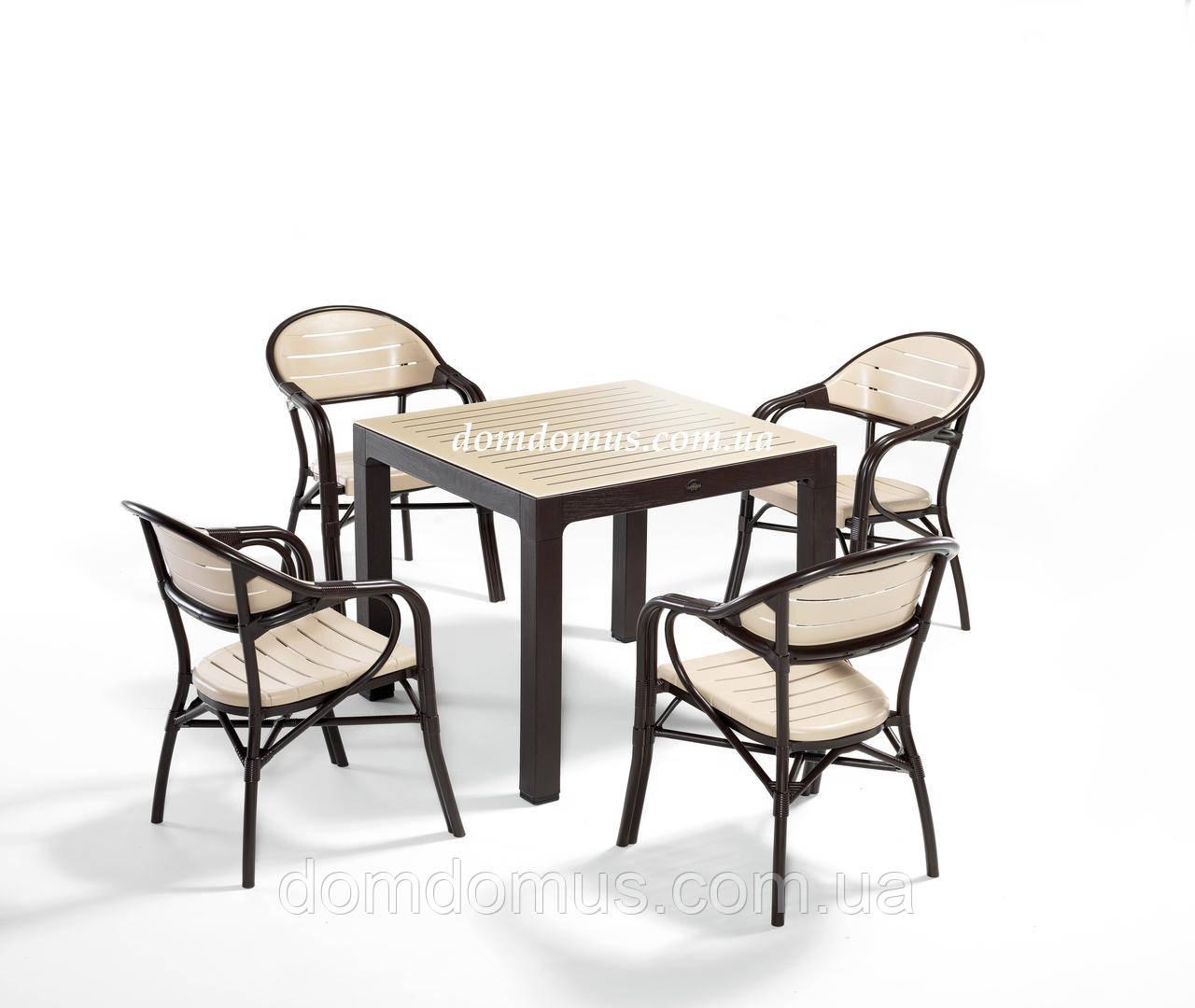 """Комплект меблів """"BAMBOO FOR 6"""" (стіл 90*90, 4 крісла) Novussi, Туреччина"""