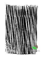 Трубочка фреш коктейльная чёрно-белая, витая с гофрой, d8, 25 см, 100 шт