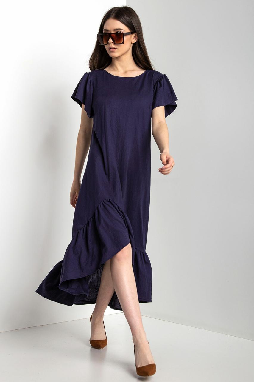 Синее асимметричное платье WILLOW с рукавами-крылышками и широким воланом по подолу