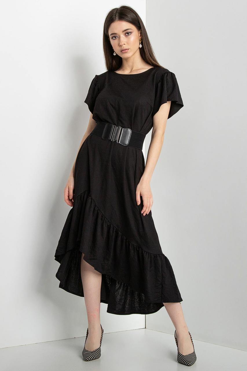 Черное платье WILLOW с рукавами-крылышками и широким воланом на асимметричной юбке