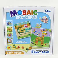 Детская Мозаика M7E трафарет (Животные) 8 карточек, 240 деталей, 6 цветов