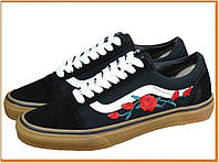 Кеды Vans Old Skool Black Roses Black (венс / ванс олд скул с розами низкие, черные / белые) хлопок, замша
