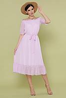 Легкое летнее платье средней длины с открытыми плечами цвет лавандовый
