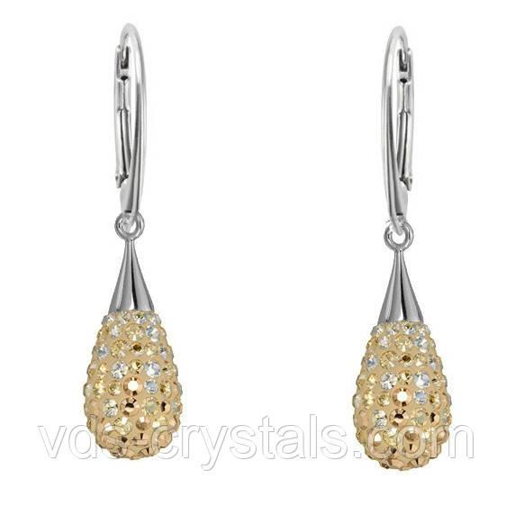 Серебряные серьги Swarovski BeCharmed & Pave 67563 Crystal Golden Shadow