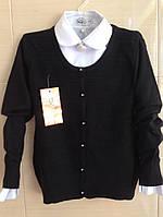 Кофта для девочки ажурная черная с нарядными пуговками р.128