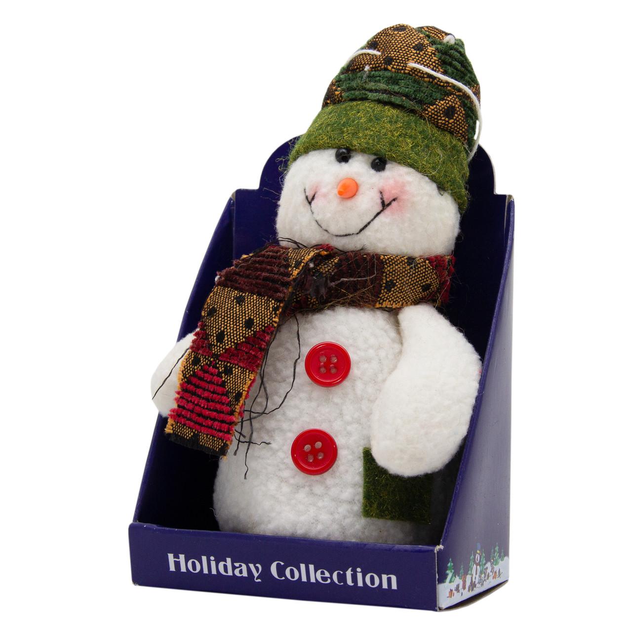 Новогодняя мягкая сувенирная фигурка Снеговик с зеленым шарфом, 14 см (000029-7)