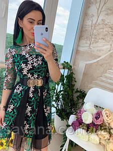 Женское платье из фатина с великолепной вышивкой. Д-5-0618 (698)