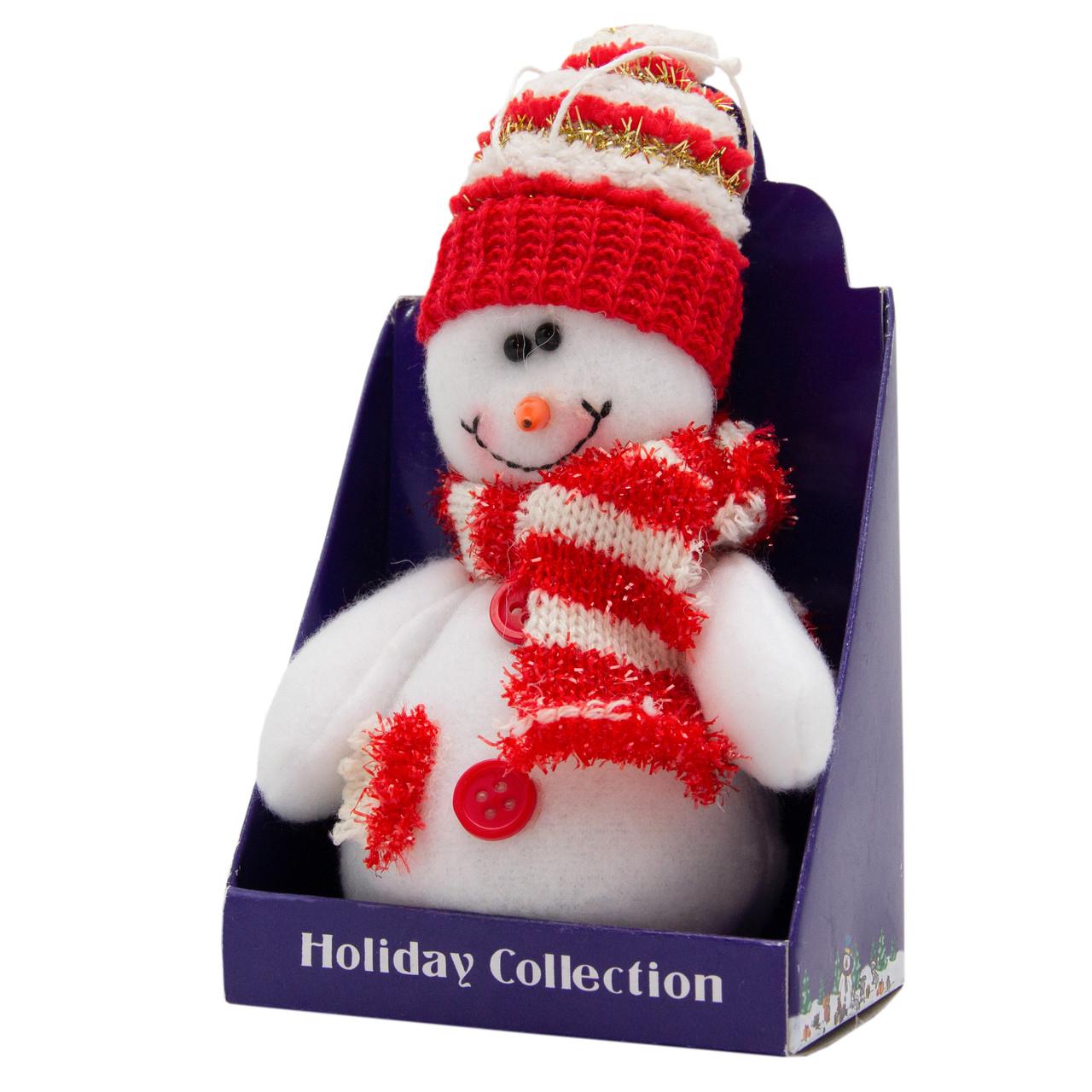 Новогодняя мягкая сувенирная фигурка Снеговик с красным шарфом, 14 см (000029-10)