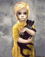 """Картина по номерам. Brushme """"Дочь с котиком. Маргарет Кин"""""""