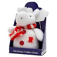 Мягкая игрушка сувенирная, Белый лось з красным шарфом в полоску, 14 см (000029-12)