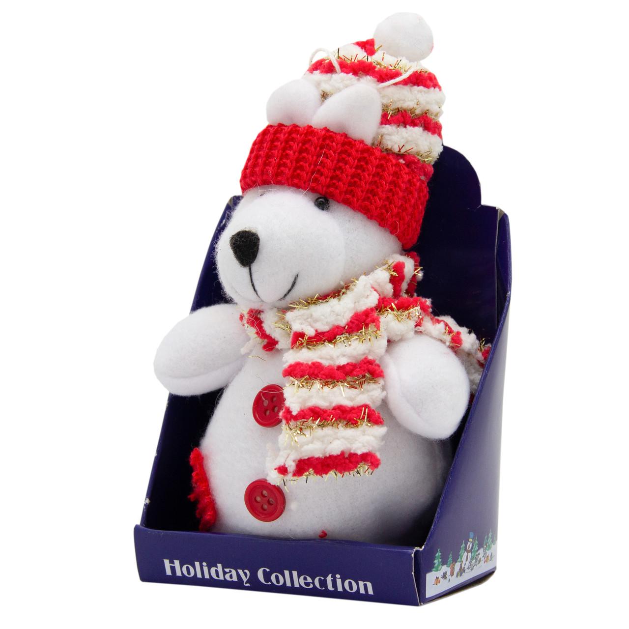 Новогодняя мягкая сувенирная фигурка Белый медведь с красным шарфом, 14 см (000029-13)