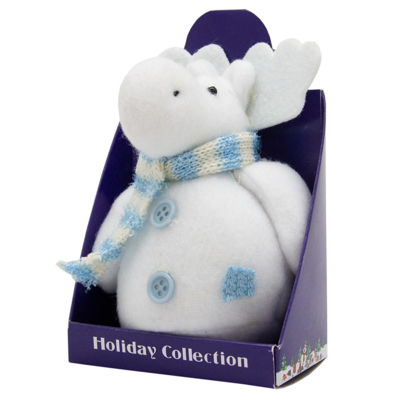 Новогодняя мягкая сувенирная фигурка Белый лось с голубым шарфом, 14 см (000029-19)