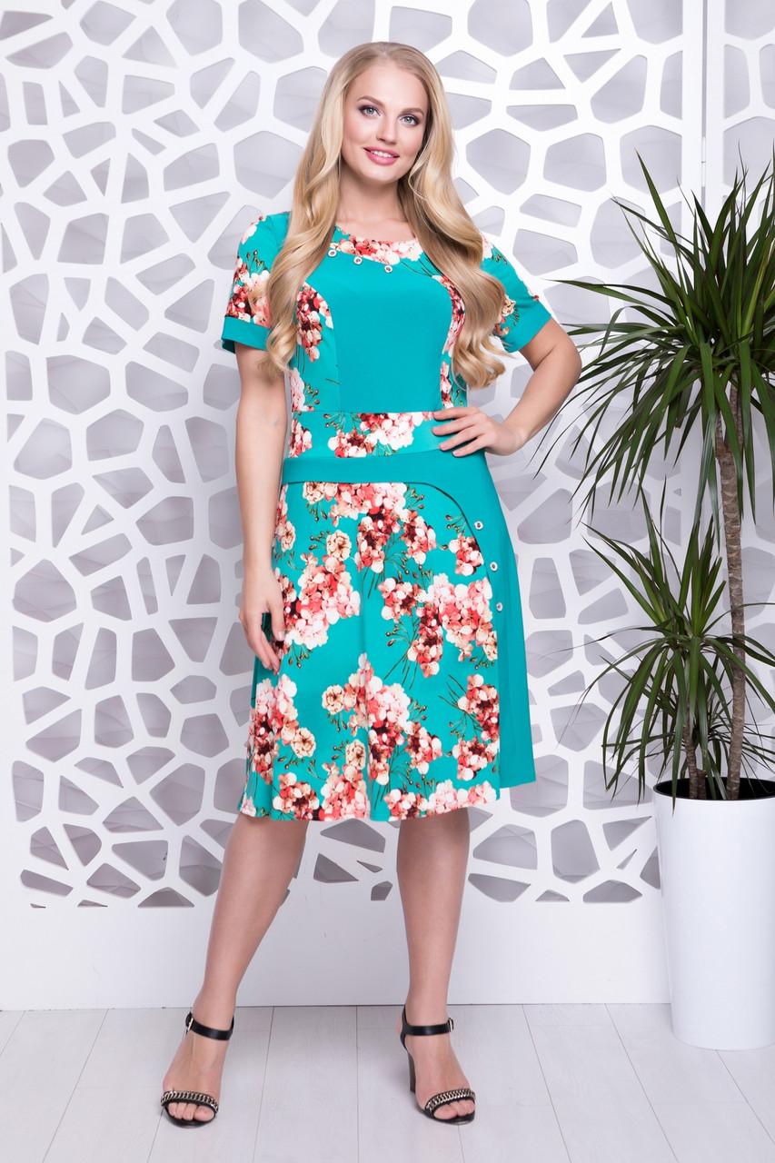 Летнее женское платье с цветочным принтом, 52-60
