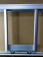 Комплект профилей раздвижной системы шкафа купе 1400х1200, две двери, серебро, фото 1