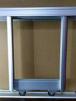 Комплект профилей раздвижной системы шкафа купе 1400х1400, две двери, серебро, фото 1