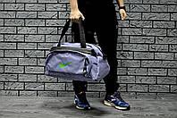 Спортивная сумка Nike стильная модная вместительная, цвет джинсовый (логотип зеленый)