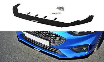 Диффузор переднего бампера губа элерон тюнинг Ford Focus MK4 ST-LINE тип 1
