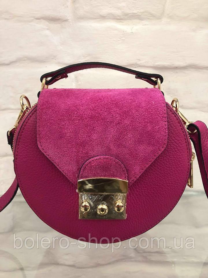 Женская сумка кожаная Италия розовая