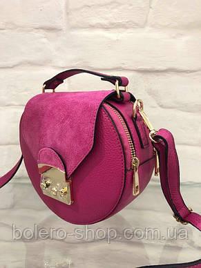 Женская сумка кожаная Италия розовая, фото 2