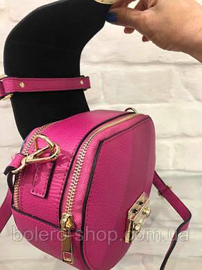 Женская сумка кожаная Италия розовая, фото 3