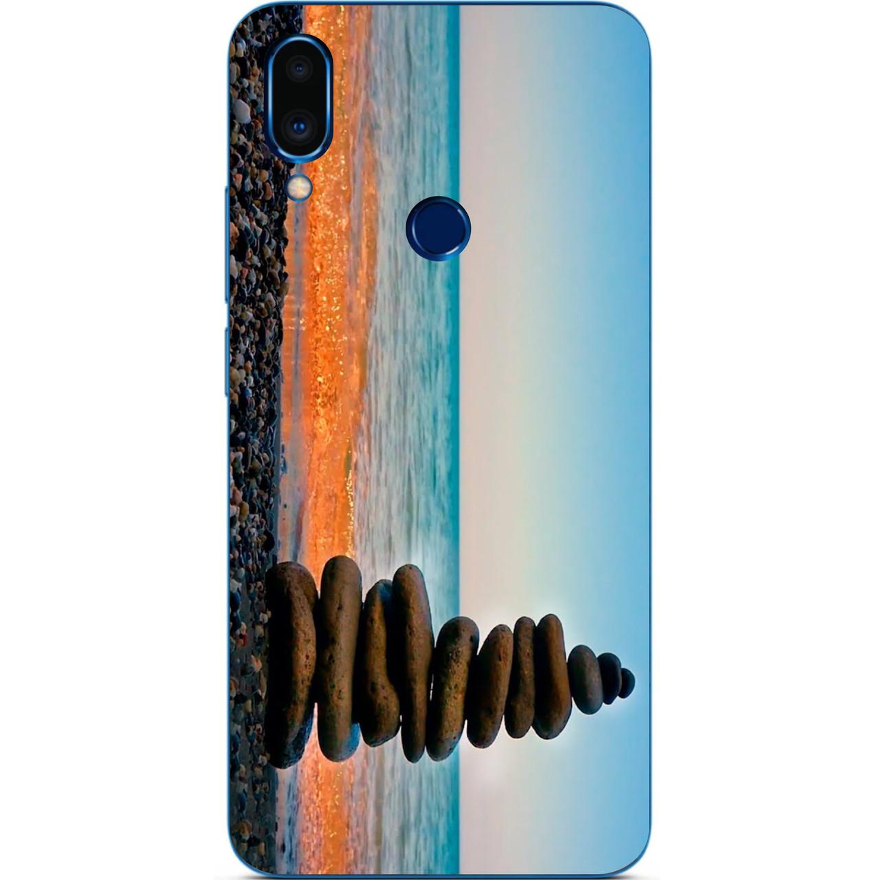 Чехол силиконовый с картинкой для Meizu Note 9 Камни