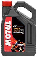 Масло моторное для мотоциклов 10w30 с четырехтактным двигателем синтетика Motul 7100 4T SAE 10W30 (4L)