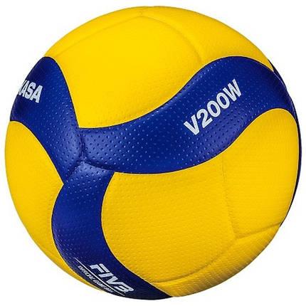 Мяч волейбольный профессиональный Mikasa V200W Желто-синий (4907225880980), фото 2