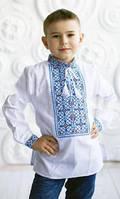"""Домоткана Вышитая рубашка на мальчика """"Голубой орнамент 4"""""""