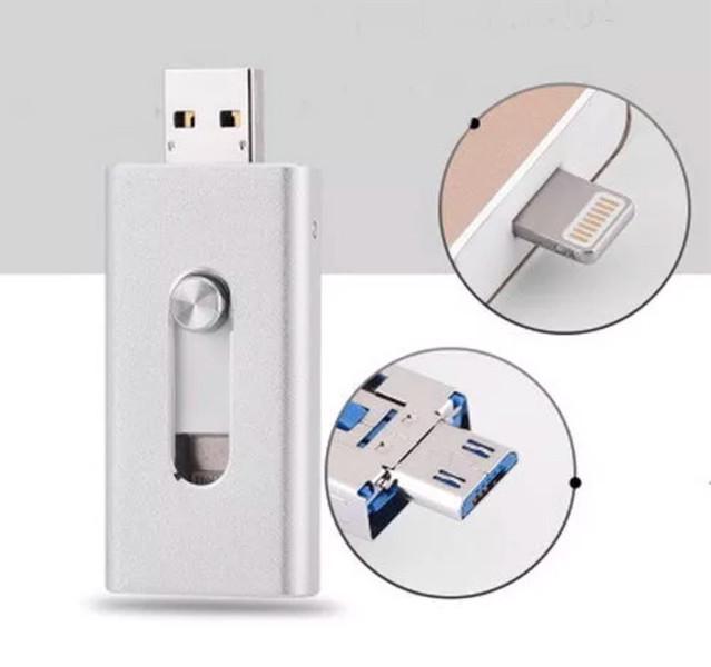 Флешка 64 Gb для Iphone, Ipad, silver