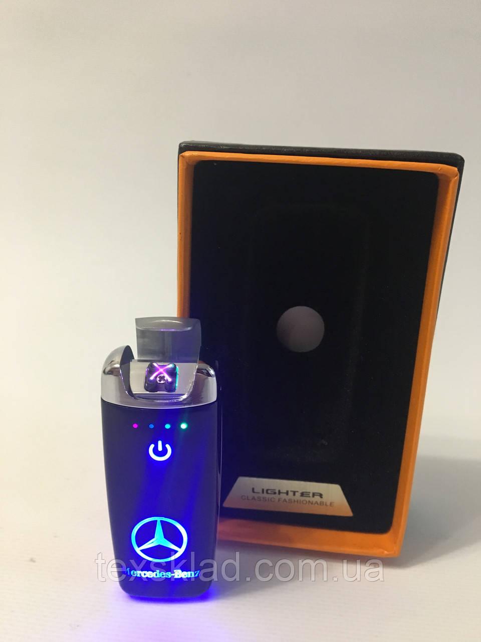 Электроимпульсная зажигалка Mercedes-Benz sensor USB / Чёрная+металик (5406)