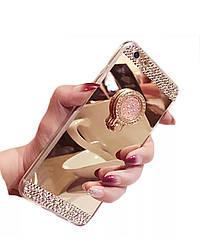 Чехол силиконовый зеркальный  с камнями  для Iphone 6/6S с кольцом-подставкой золотой