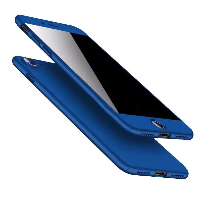 Чехол накладка для Iphone 7/Iphone 8 , 360 градусов+стекло, синий