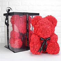 Мишка из роз в коробке ОРИГИНАЛ 25 см Bear Flowers дропшиппинг, опт