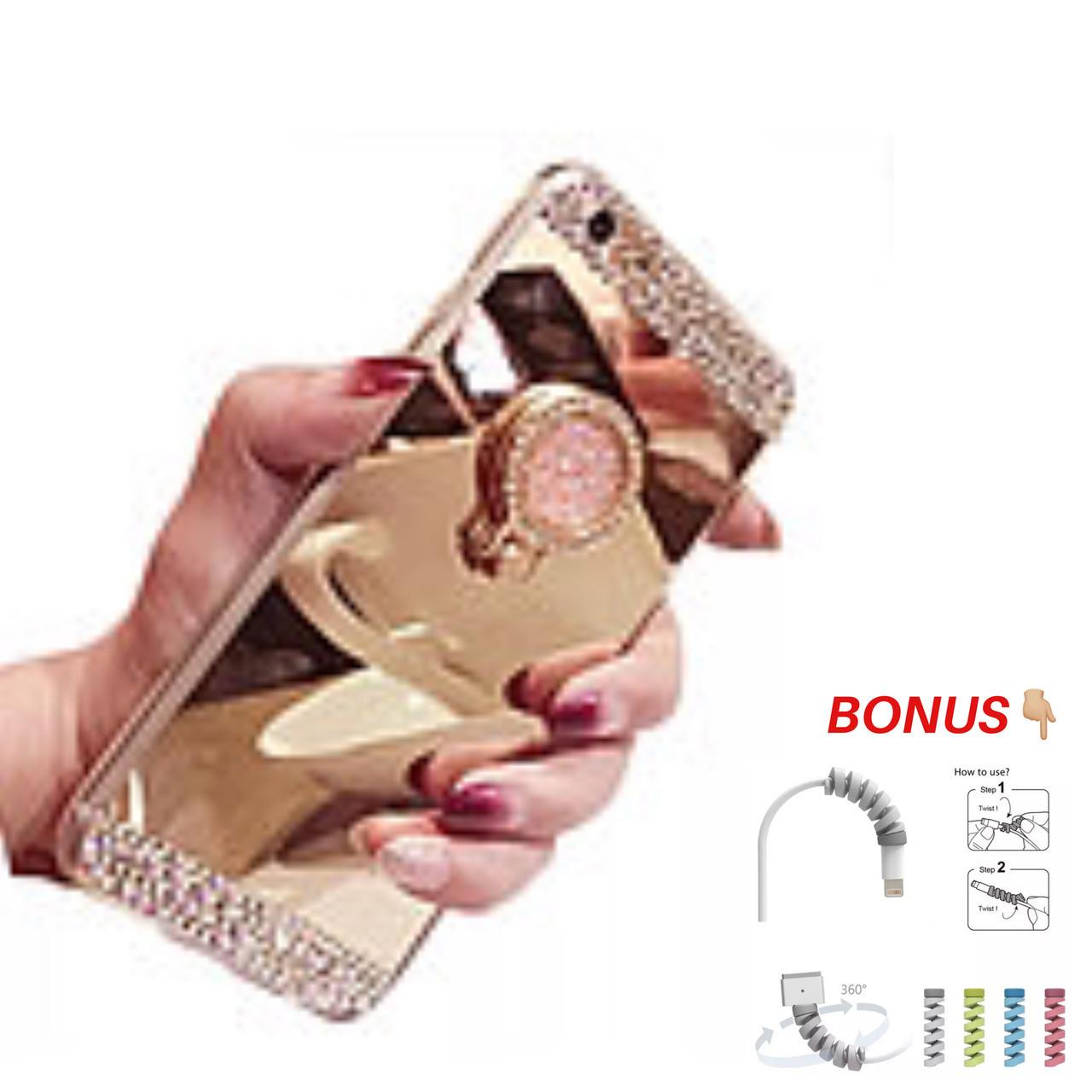 Чехол силиконовый  для IPhone 6 / 6S с  с камнями и кольцом-подставкой gold