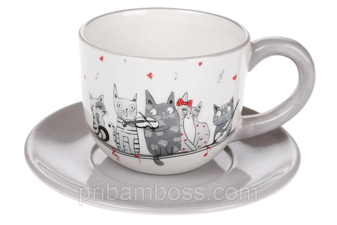 Чашка 240мл с блюдцем керамическая с объемным рисунком Ночная серенада коты