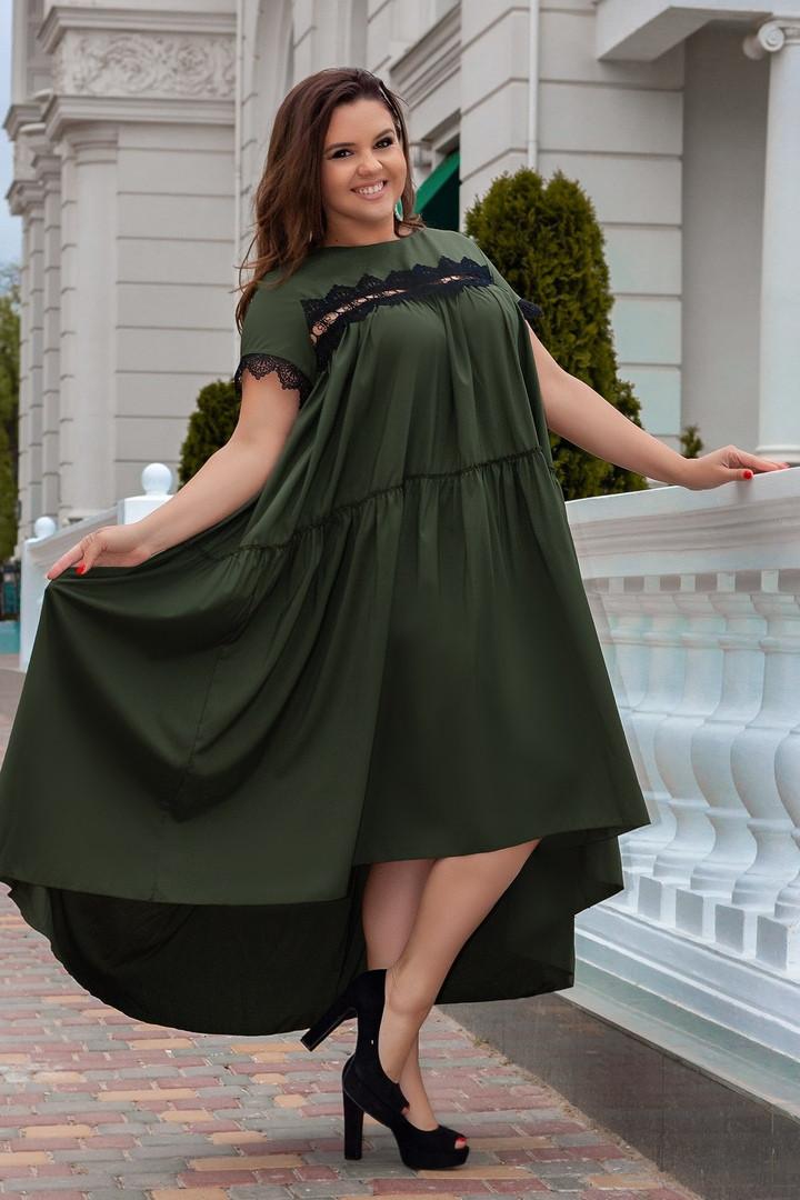 Платье женское длинное из поплина в стиле оверсайз с кружевными вставками (К28164)