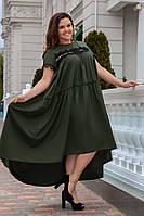 Платье женское длинное из поплина в стиле оверсайз с кружевными вставками (К28164), фото 1
