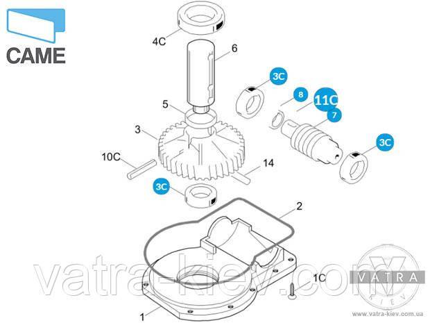 червяк редуктора автоматики Came Frog 119ria016 купить цена