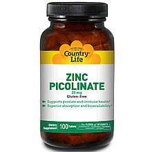 """Пиколинат цинка Country Life """"Zinc Picolinate"""" 25 мг (100 таблеток)"""