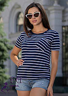 "Женская футболка с карманом ""Believe"" синий, 46-48"