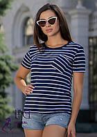 "Женская футболка с карманом ""Believe"" синий, 50-52"
