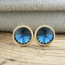Серьги Xuping с кристаллами Swarovski 83015 размер 7х7 мм цвет джинсовый синий позолота 18К