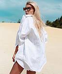 Женский льняной костюм: рубашка-накидка и шорты (в расцветках), фото 3