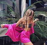Женский льняной костюм: рубашка-накидка и шорты (в расцветках), фото 5