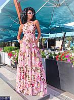 Летнее легкое Платье в пол пепельно-розовое с цветочным принтом BG-8870