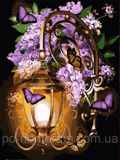 Картина по номерам фонарь и бабочки